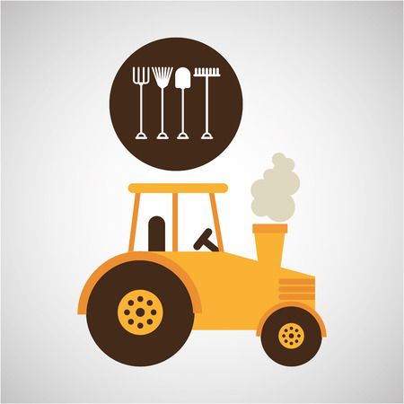 portcullis: farm countryside tractor cawler isolated, vector illustration Illustration