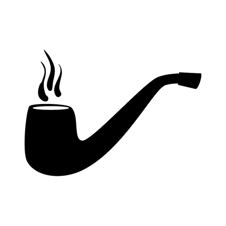 tobacco pipe vintage isolated flat icon with black and white colors. Illustration