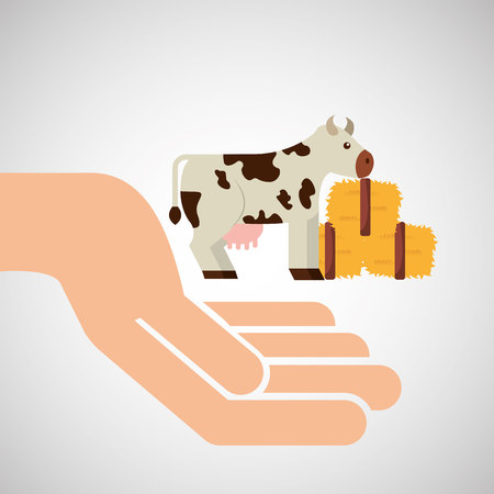 thatch: farm countryside hand holding isolated, vector illustration