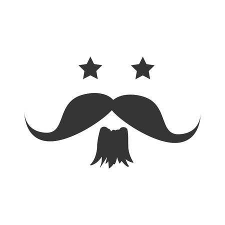 mister: Stars mustache beard , isolated flat icon with black and white colors.
