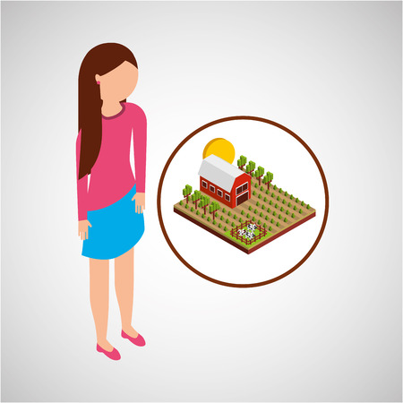 p buildings: farm countryside people isolated, vector illustration