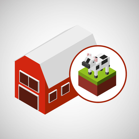 p buildings: farm countryside isometric isolated, vector illustration Illustration