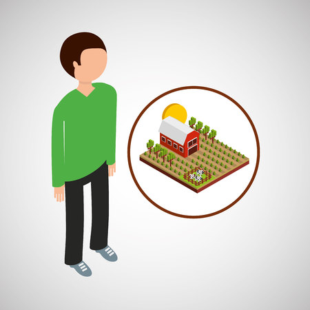 farm countryside people isolated, vector illustration
