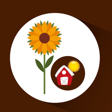 p buildings: farm countryside garden sunflower isolated, vector illustration