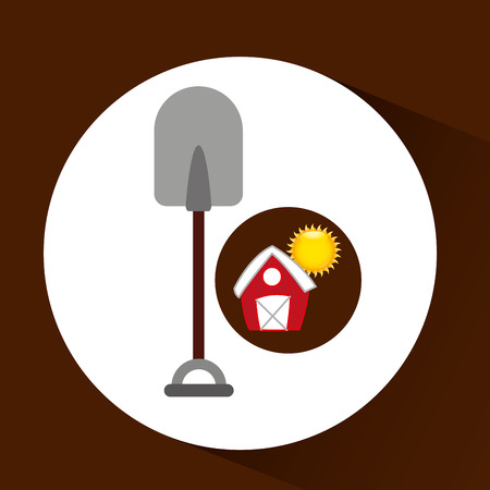 p buildings: farm countryside shovel tool isolated, vector illustration Illustration