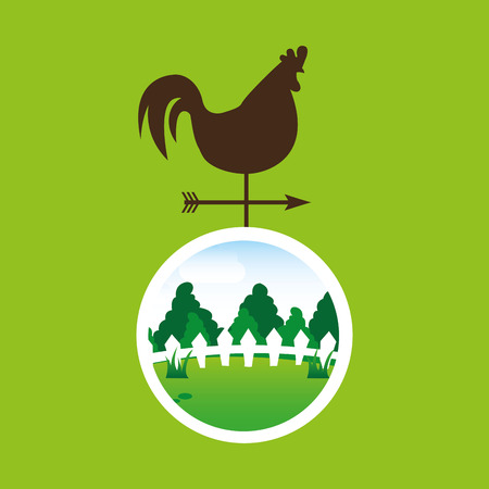 vane: farm countryside weather vane isolated, vector illustration
