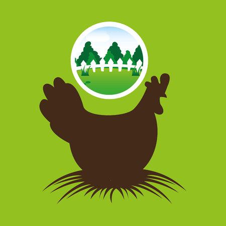 thatch: farm countryside animal hen isolated, vector illustration Illustration