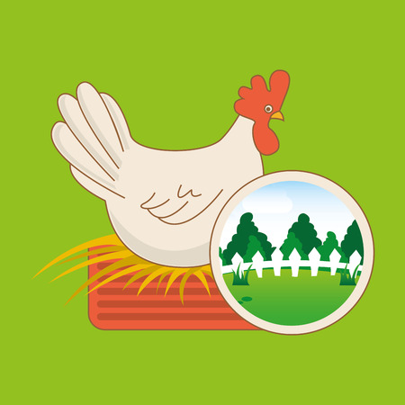 farm countryside animal hen isolated, vector illustration Illustration