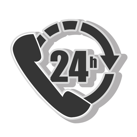 24 hr: Twentyfour hours service , isolated flat icon with black and white colors.