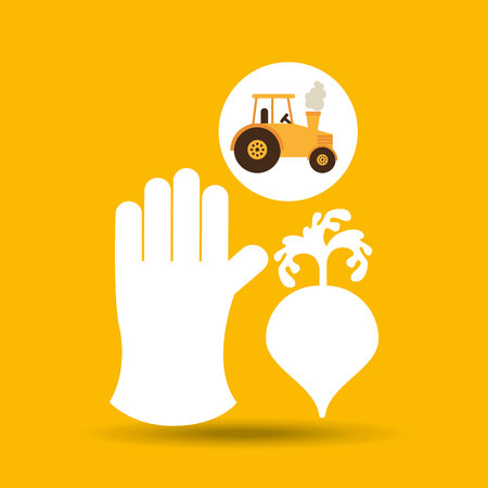 farm countryside tractor cawler isolated, vector illustration Illustration