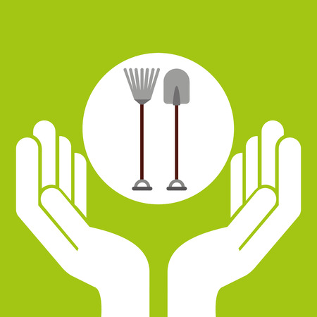 hand shovels: farm countryside hand holding isolated, vector illustration