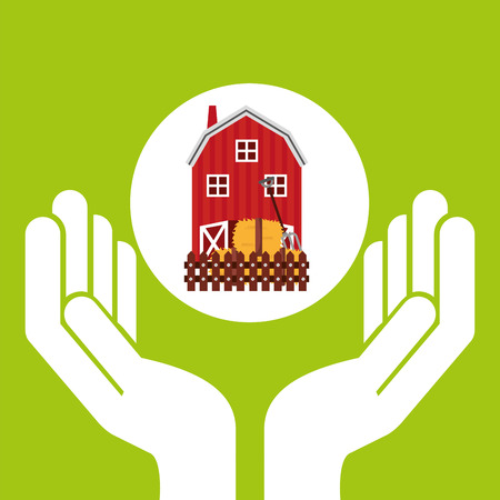 p buildings: farm countryside hand holding isolated, vector illustration