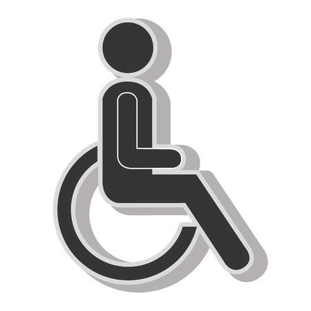 handicap: Handicap wheelchair disability , isolated flat icon with black and white colors.
