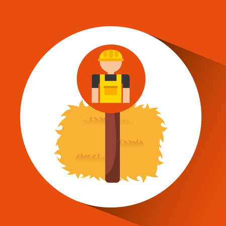 thatch: farm countryside farmer people isolated, vector illustration