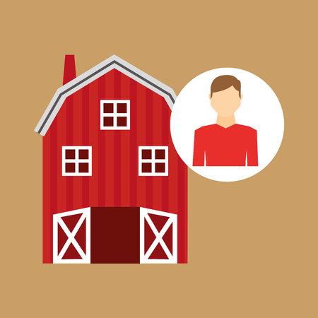 p buildings: farm countryside farmer people isolated, vector illustration