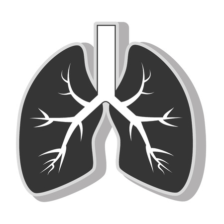 lung organ health , isolated flat icon with black and white colors. Illustration