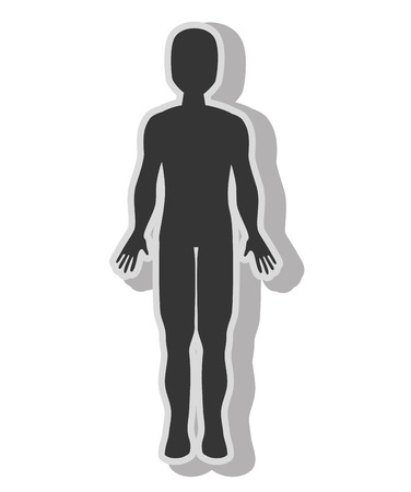 Male body silhouette , isolated flat icon with black and white colors.