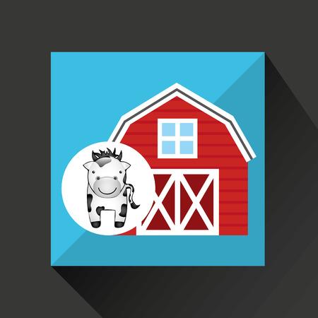 p buildings: farm countryside animal isolated, vector illustration