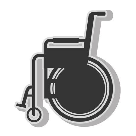 paraplegic: discapacidad en silla de ruedas para personas discapacitadas, icono plana aislada con los colores blanco y negro. Vectores