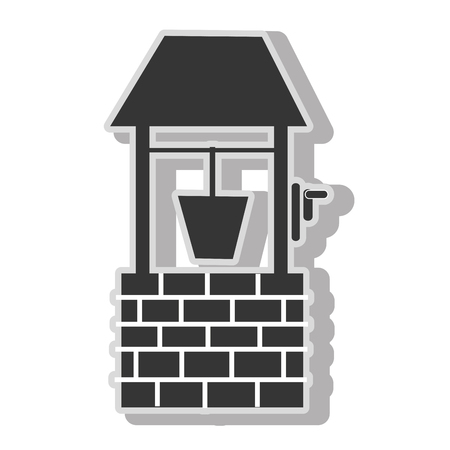 borehole: Waterhole bucket water , isolated flat icon with black and white colors. Illustration