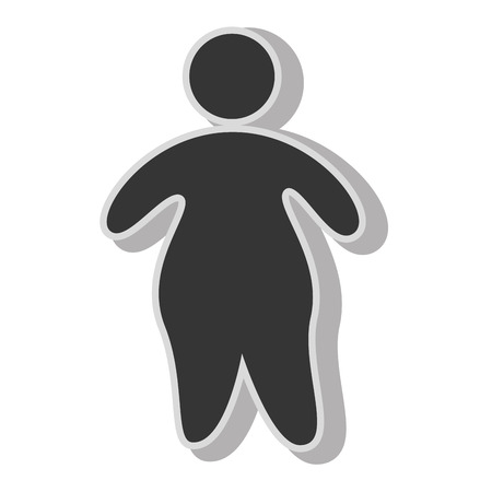 Fat boy pictogram , isolated flat icon with black and white colors. Vettoriali