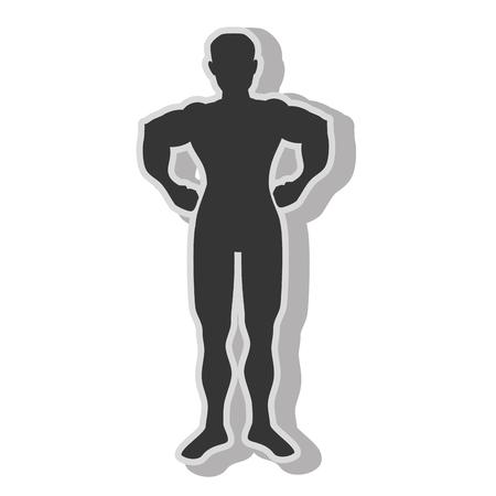 Muscoli di bodybuilding uomo, icona piatto isolato con colori bianco e nero. Archivio Fotografico - 60270722