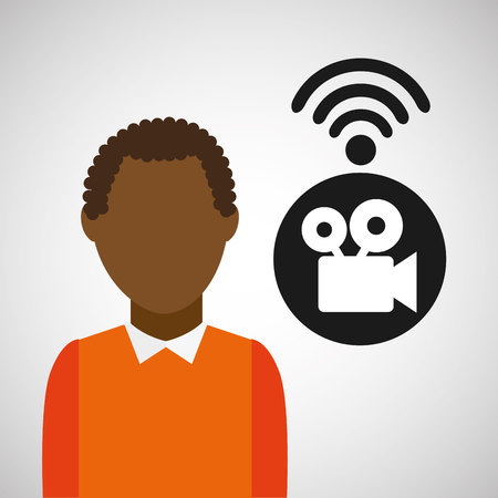 users video: Wifi technology app isolated, vector illustration