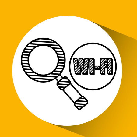 Wifi technology app isolated, vector illustration