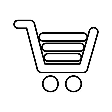 retailers: gray shopping cart, commercial market,  isolated lineal vector