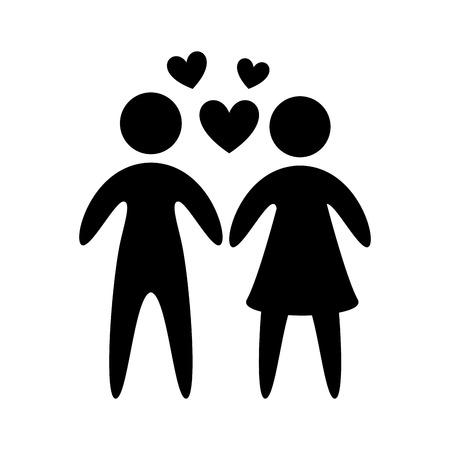 male bonding: pictogram of couple with hearts illustration