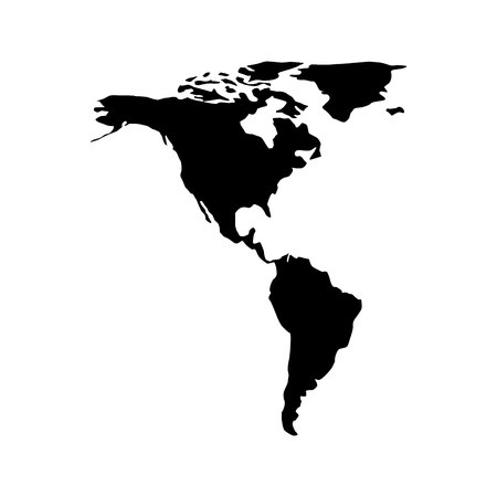 continent: American continent silhouette,  isolated vector illustration