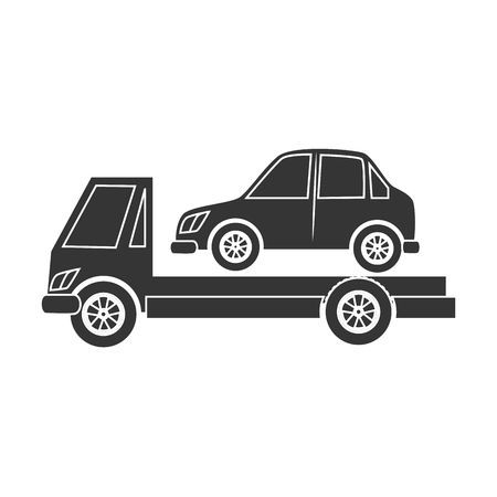 vehicle breakdown: truck towing car black and white colors isolated flat icon