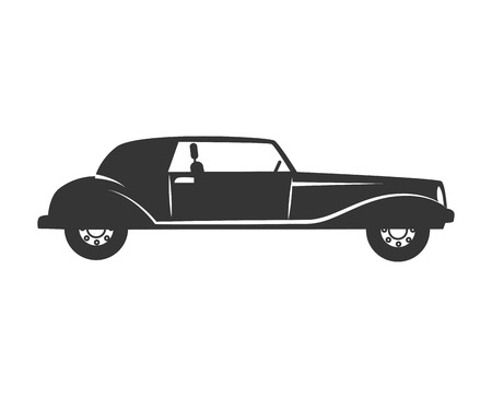 car vehicle transport black and white colors isolated flat icon Illustration