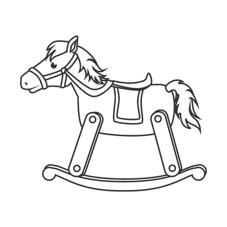 Wooden Horse Toy Black And White Isolated Flat Icon Royalty Free