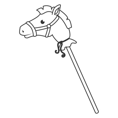 wooden stick: Wooden stick horse toy ,black and white isolated flat icon