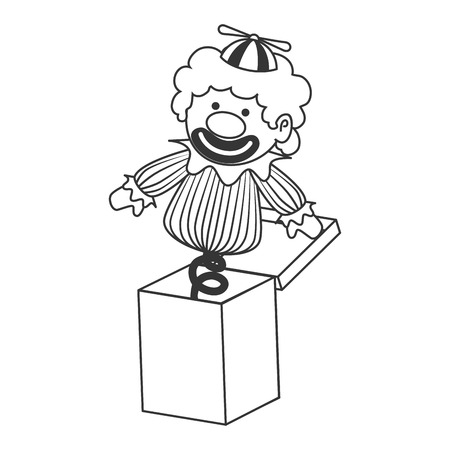 suprise: clown suprise box toy ,black and white isolated flat icon