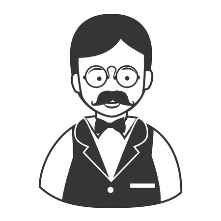 Waiter male mustache glasses , isolated flat icon cartoon