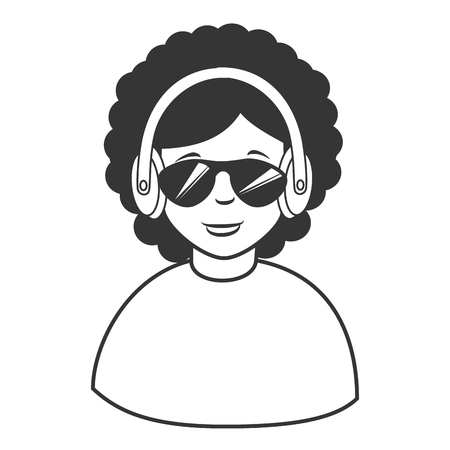 afro hair: Afro hair headphones sunglasses , isolated flat icon cartoon