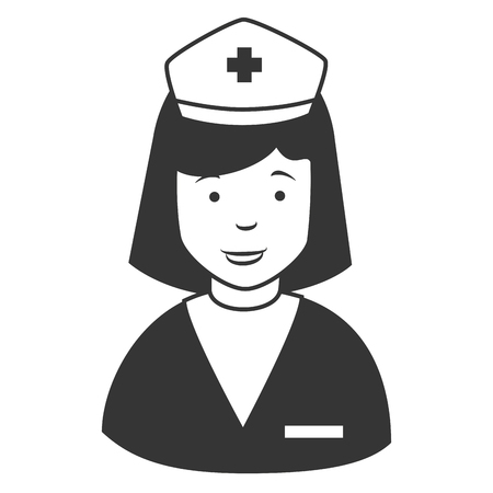 nurse cap: Nurse profile cap , isolated flat icon cartoon Illustration