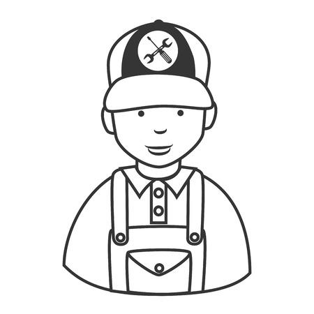 mechanic man: Repair mechanic man , isolated flat icon cartoon Illustration