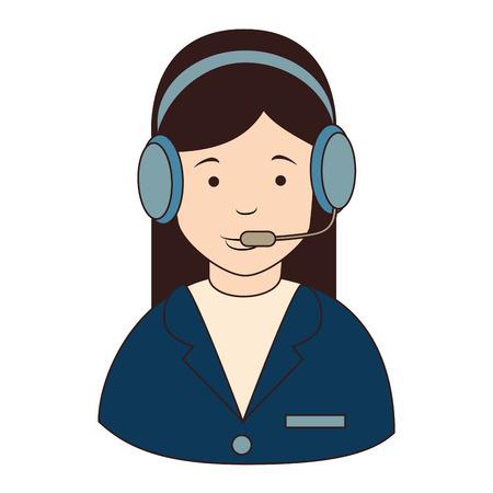 callcenter: woman callcenter headphones , isolated flat icon design Illustration