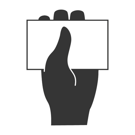 business card hand: Business card hand, isolated flat icon design