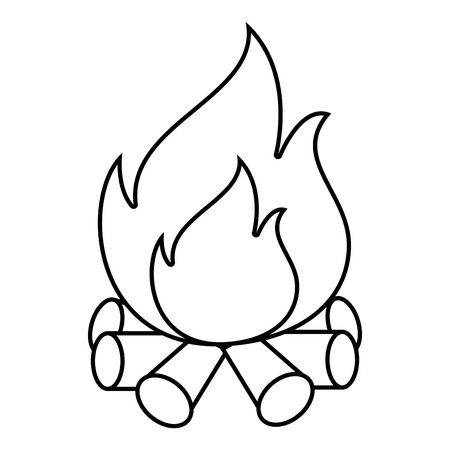 Wood fire flammes ,isolated black and white flat icon design