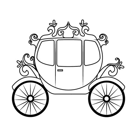 chariot: Horse carriage object, isolated flat icon design.