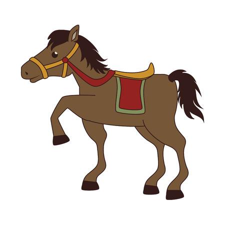 Horse saddle cartoon, isolated flat icon cartoon design Illustration