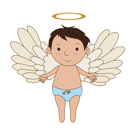 valentine cherub: Baby angel cartoon, isolated flat icon design.