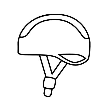 Fietshelm veiligheid, geïsoleerde zwarte en witte platte design icoon