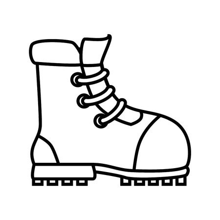 footwear: Boot footwear ,isolated black and white flat icon design Illustration