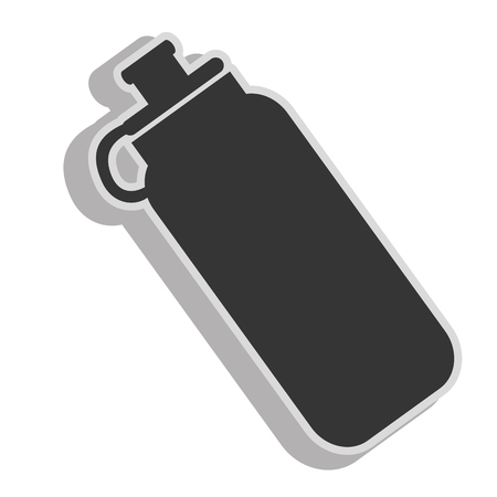 carbonated: Water bottle object ,isolated black and white flat icon design