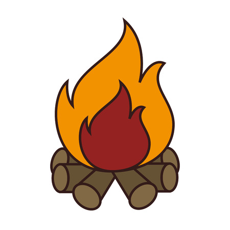 wood fire: Wood fire flammes ,isolated colorful icon design Illustration